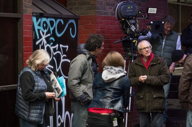 "Loach on the set of ""I, Daniel Blake"""